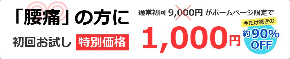 「腰痛」の方に初回お試し特別価格1,980円