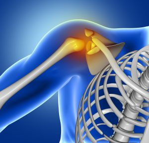 3D render of a blue medical image of close up of shoulder bone