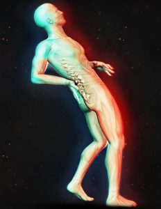 3D render of a male figure holding back in pain with dual colour effect